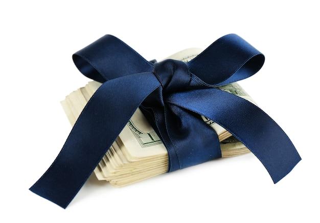 Bündel von dollar mit band isoliert gebunden