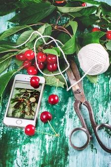 Bündelkirschbaum mit scheren und thread
