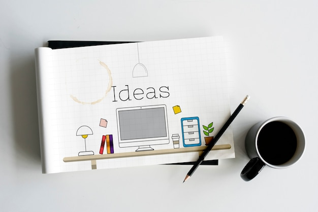 Büro-arbeitsplatz-innenraum modernes design-grafik