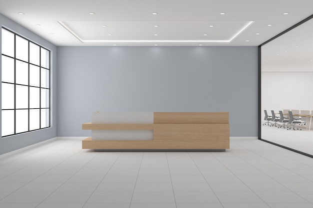 Büro-empfangs-schreibtisch mockup vorderansicht innenarchitektur