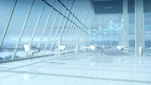 Büro mit hellem interieur und virtuellen infografiken