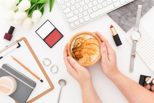 Bürogeräte und frühstück
