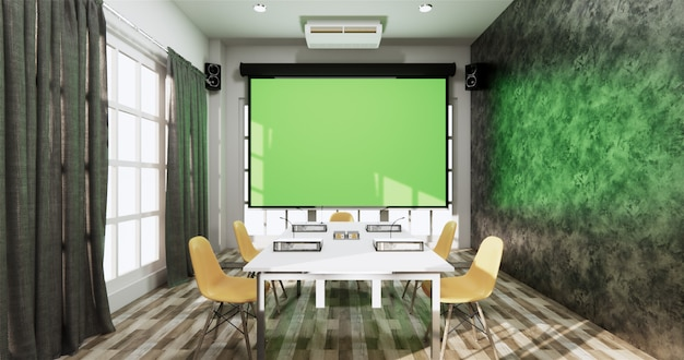 Bürogeschäft im loft-stil - wunderschöner sitzungssaal mit besprechungsraum und konferenztisch im modernen stil. 3d-rendering
