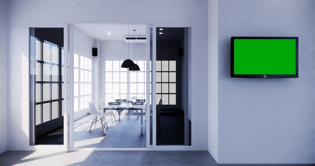 Bürogeschäft - schöner sitzungssaal-tagungsraum und konferenztisch, moderner stil. 3d-rendering