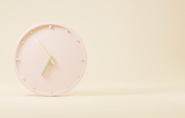 Bürouhr-symbol runde business-rosa-uhren mit zeitpfeilen 3d-rendering-illustration