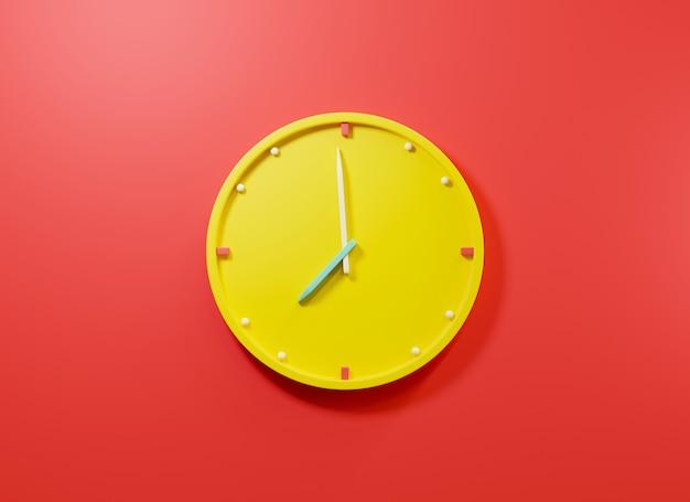 Bürouhr-symbol runde gelbe geschäftsuhren mit zeitpfeilen 3d-rendering-illustration