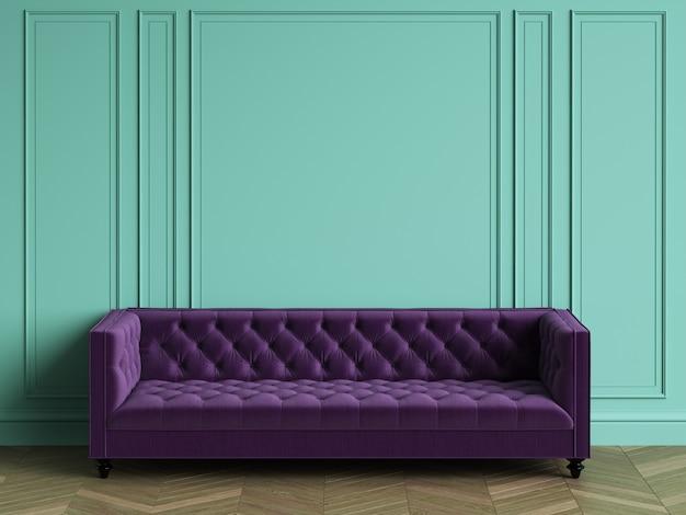 Büscheliges violettes sofa im klassischen innenraum mit kopienraum. türkisfarbene wände mit zierleisten. boden parkett fischgrät. 3d-rendering