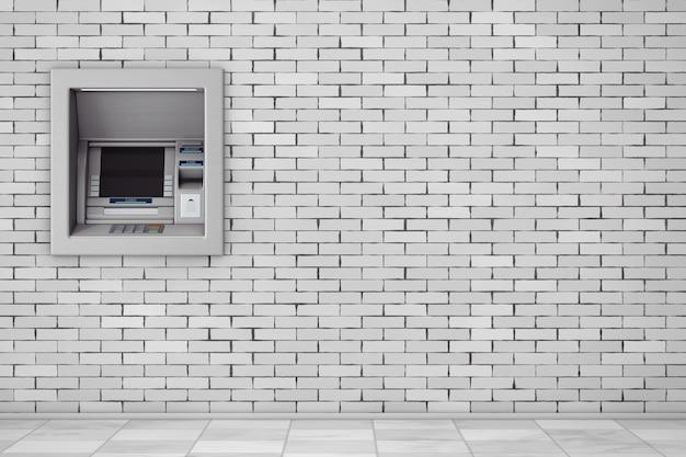 Build in bank cash atm machine in der mauer. 3d-rendering