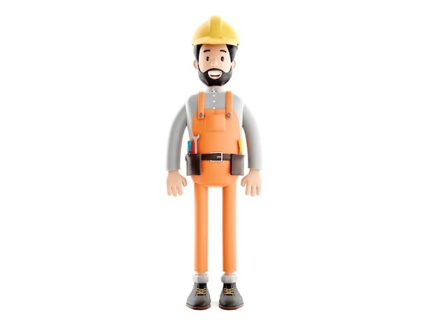 Builder-cartoon-figur, lustiger arbeiter oder ingenieur 3d-illustration.