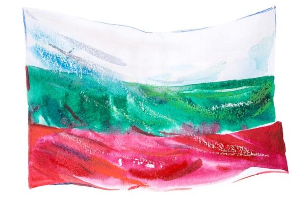 Bulgarien, bulgarische flagge. handgezeichnete aquarellillustration.
