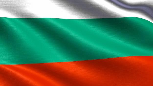 Bulgarien-flagge, mit wellenartig bewegender gewebebeschaffenheit