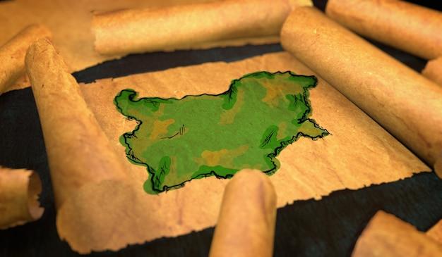 Bulgarien karte malerei entfaltung alte papierrolle 3d