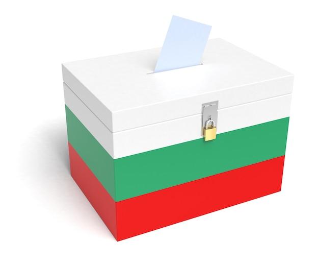 Bulgarien wahlurne mit bulgarischer flagge. isoliert auf weißem hintergrund.