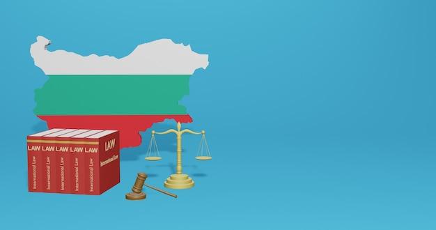Bulgarisches gesetz für infografiken, social media-inhalte in 3d-rendering