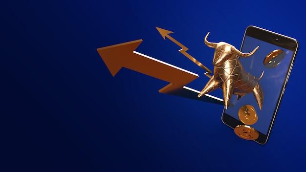 Bull-gold und bewegliche wiedergabe 3d für geschäftsinhalt.