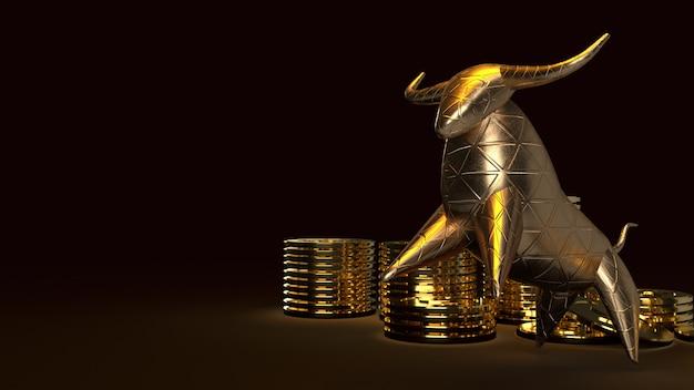 Bull gold und gold coons, 3d-rendering auf dunkel