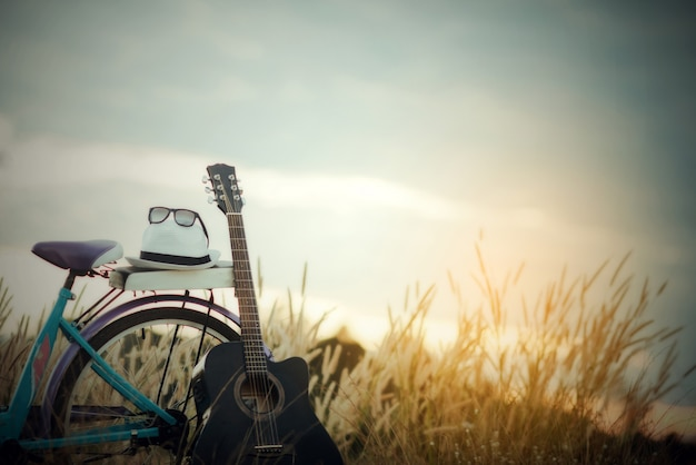 Bunt vom fahrrad mit gitarre in der wiese