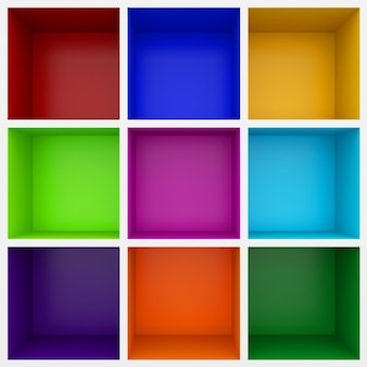 Bunte 3d-regale für vitrine