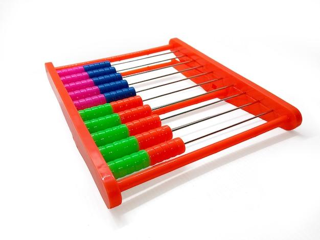 Bunte abacus close up konzept der finanzen und business arithmetische und mathematische spielspielzeug