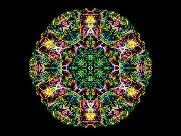 Bunte abstrakte flammenmandalablume, runde form des neonornamentsblumen. yoga-thema
