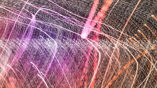 Bunte abstrakte kurvenlichter auf einem schwarzen hintergrund