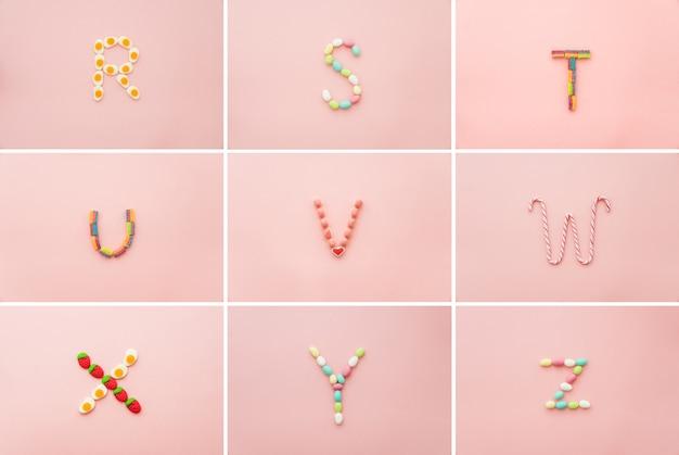 Bunte alphabet aus süßigkeiten gemacht
