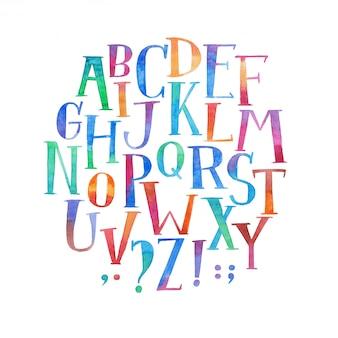 Bunte aquarellaquarelle-schriftart handgeschriebene handzeichnung abc alphabetbuchstaben