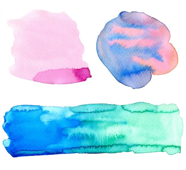 Bunte aquarellauslegungelemente. helle hintergründe für frühlings- oder sommerdekorationen.