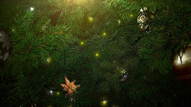 Bunte bälle der nahaufnahme und grüne baumaste auf glänzendem hintergrund. luxuriöse und elegante 3d-darstellung im dynamischen stil für den winterurlaub