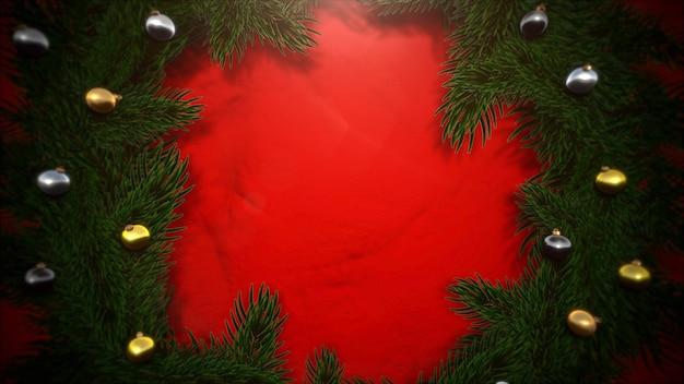 Bunte bälle und weihnachtliche grüne baumaste auf rotem hintergrund. luxuriöse und elegante 3d-darstellung im dynamischen stil für den winterurlaub