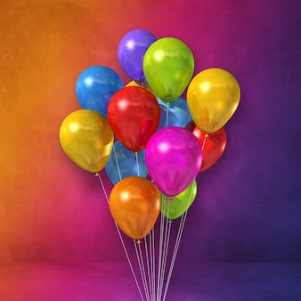 Bunte ballone bündeln auf einem regenbogenwandhintergrund. 3d-darstellung rendern