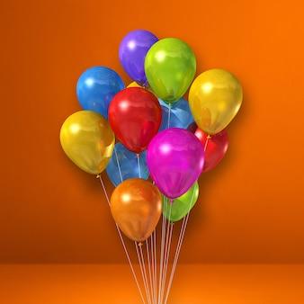 Bunte ballone bündeln auf orangefarbenem wandhintergrund. 3d-darstellung rendern