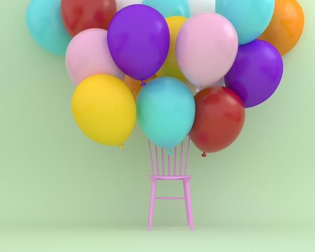 Bunte ballone, die mit rosa stuhl auf hintergrund der grünen farbe schwimmen.