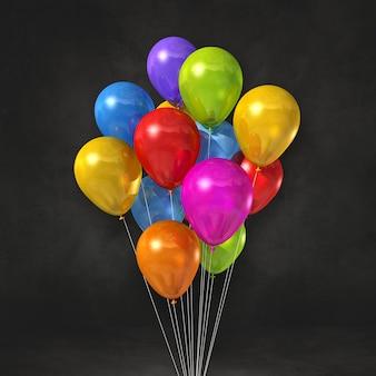 Bunte ballons bündeln auf einem schwarzen wandhintergrund. 3d-darstellung rendern