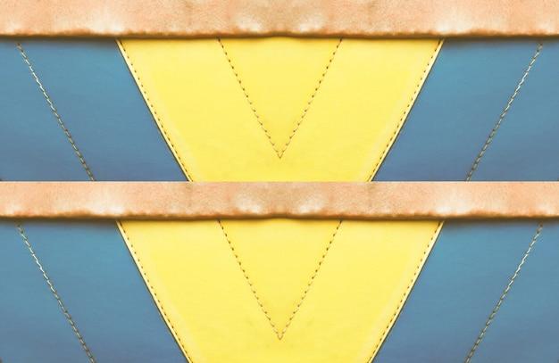 Bunte blaue, braune und gelbe lederne abstrakte schablone, fahnendesignhintergrund