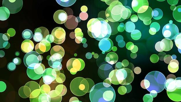 Bunte blaue grüne lichtblase göttliche dimension bokeh verwischen abstrakten dunklen hintergrund
