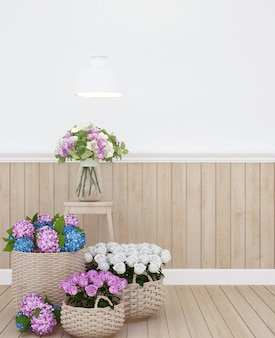 Bunte blume und raum für grafik im wohnzimmer oder in anderem raum - wiedergabe 3d