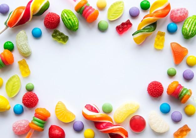 Bunte bonbons, gelee und marmelade