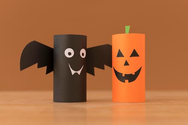 Bunte dekorationen für halloween-set