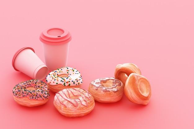 Bunte donut- und kaffeetasse mit pastellrosa 3d-darstellung