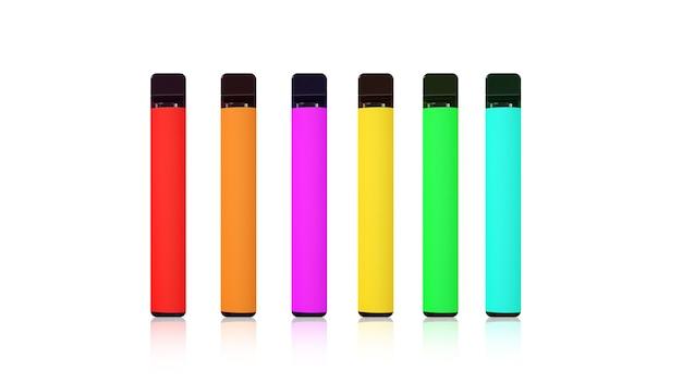 Bunte elektronische einwegzigaretten mit schatten auf weißem hintergrund. das konzept des modernen rauchens, dampfens und nikotins