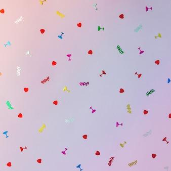 Bunte feiermusterwand aus partykonfetti. flach liegen.