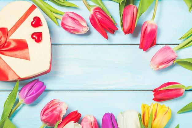 Bunte frühlingstulpe blüht mit dekorativem giftbox und herzen auf hellblauem