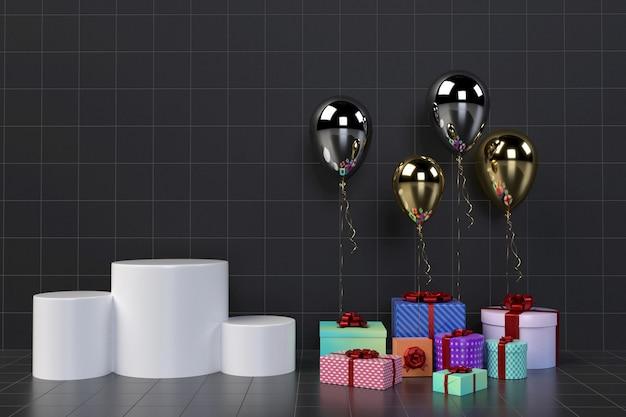Bunte geschenkboxen mit ballonen auf hintergrund