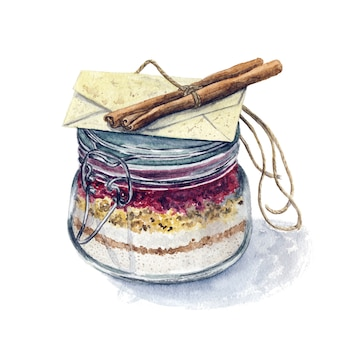 Bunte gezeichnete aquarellhand bedeckte kochenden topf