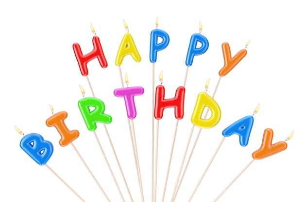 Bunte happy birthday kerzen buchstaben zeichen auf weißem hintergrund. 3d-rendering