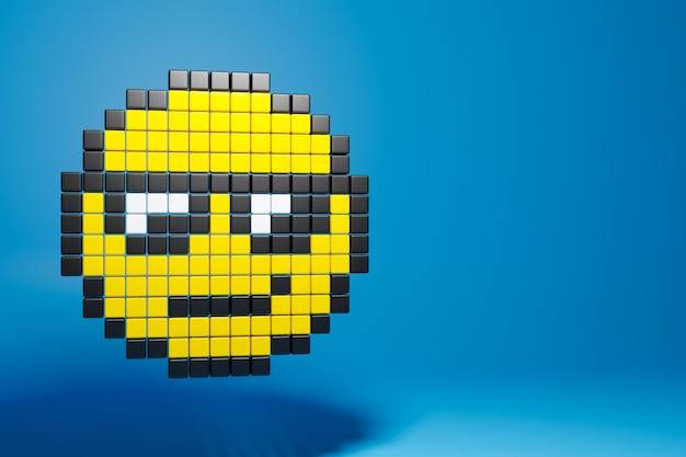Bunte illustration 3d des lächelnden gesichts von auf blau isollated hintergrund. ein emoji-emoticon-gesichtssymbol in einer pixelkunst