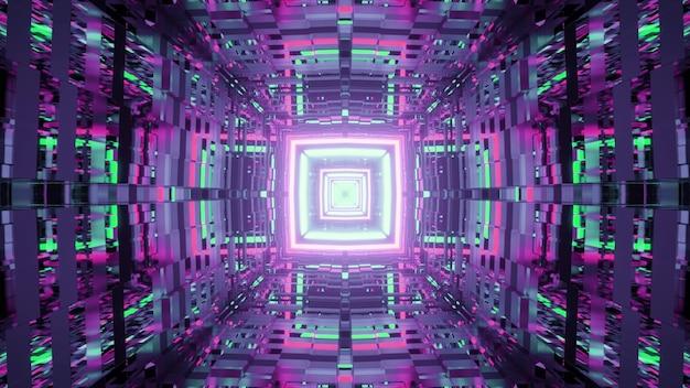 Bunte illustration des futuristischen quadratischen tunnels mit heller neonbeleuchtung und verzerrten reflektierenden wänden