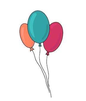 Bunte karikaturballonillustration für kindisches feiertagsdesign und hochzeitsdekorationen.