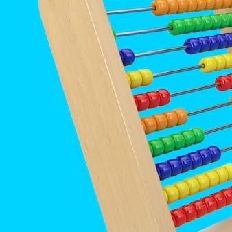 Bunte kinder spielzeug gehirn entwicklung abacus closeup auf blauem hintergrund. 3d-rendering